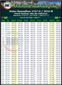 Jadwal Buka Puasa dan Imsakiyah Ramadhan Bandung