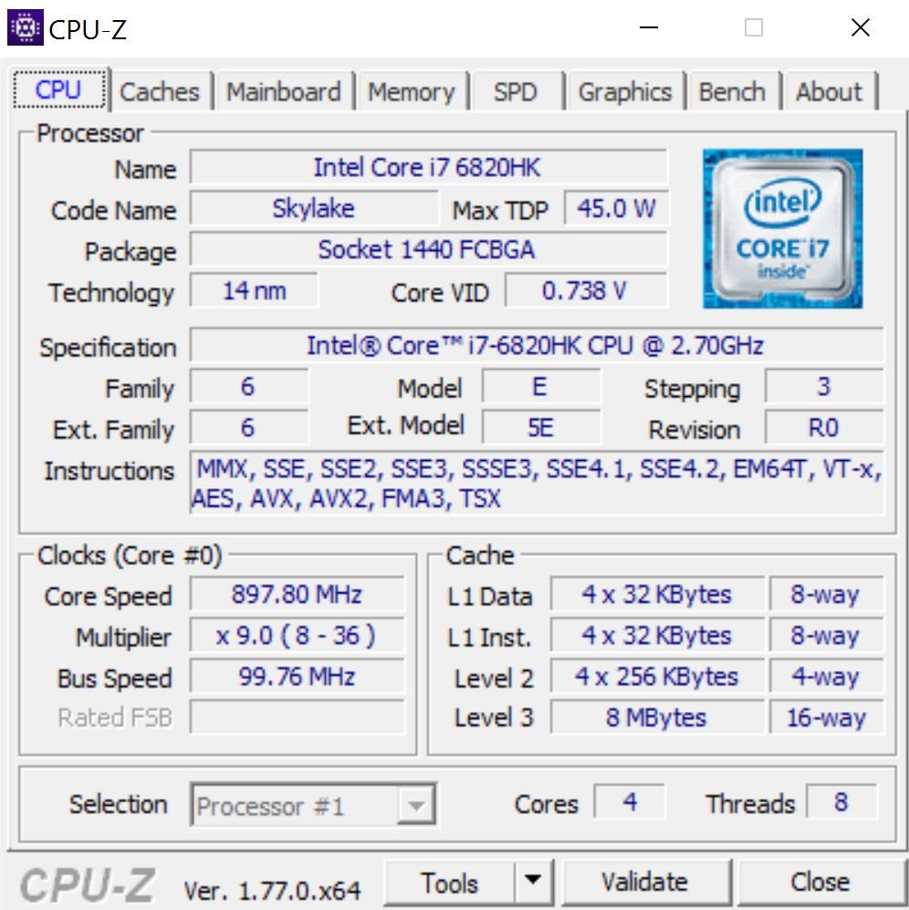 Hasil dari CPU-Z