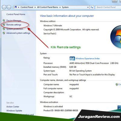Cara Mengaktifkan Remote Dekstop Pada Windows 7