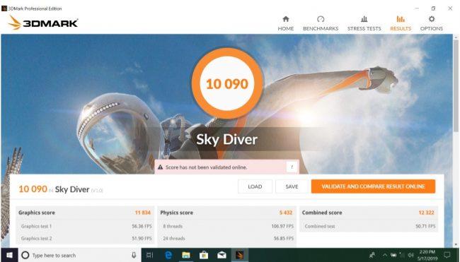 3DMark Sky Diver - ASUS VivoBook Ultra A412